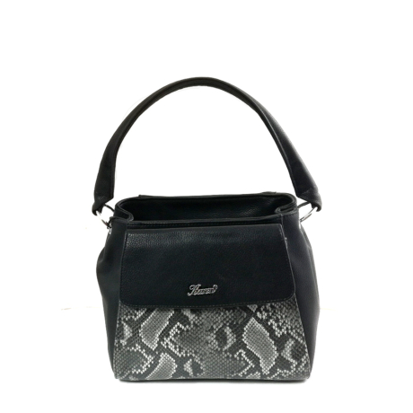 Kare női táska Fekete krokodil mintás.jpg